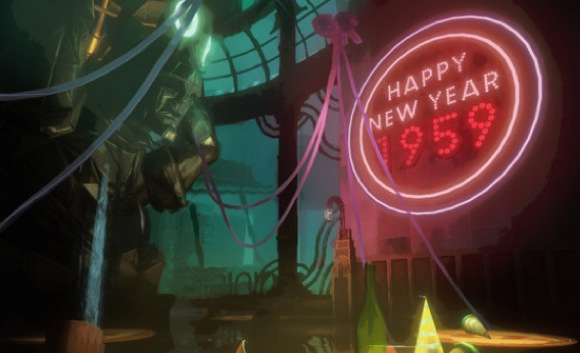 A neon Happy New Year sign from Bioshock.