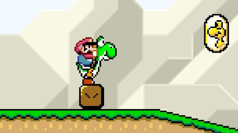 Mario on Yoshi's back standing on a block.