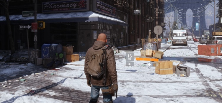 A The Division agent looking down a New York street.